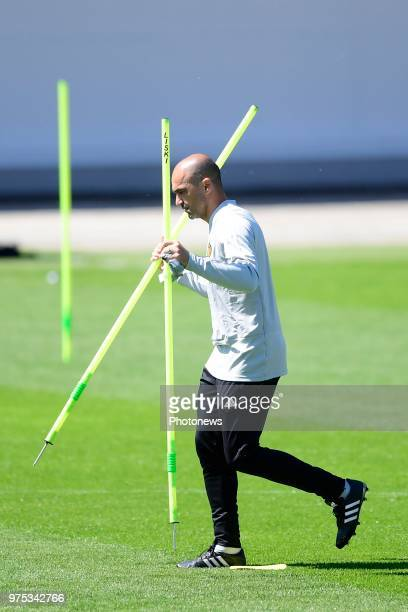 Roberto Martinez manager of the Belgium national football team pictured during a training session of the National Soccer Team of Belgium as part of...