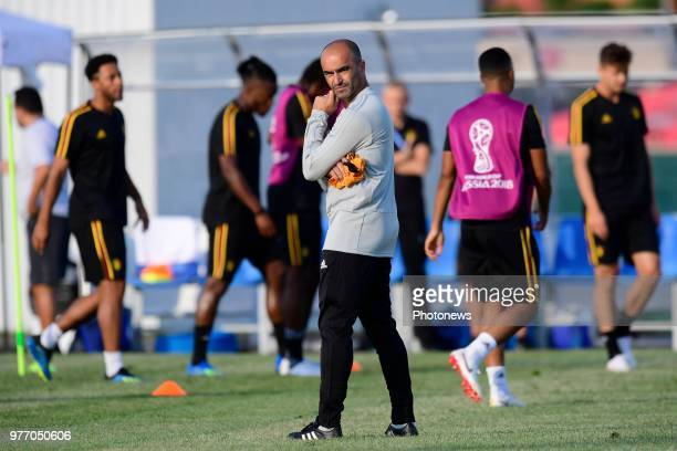 Roberto Martinez manager of the Belgium national football team pictured during a training session of the national soccer team of Belgium prior to the...