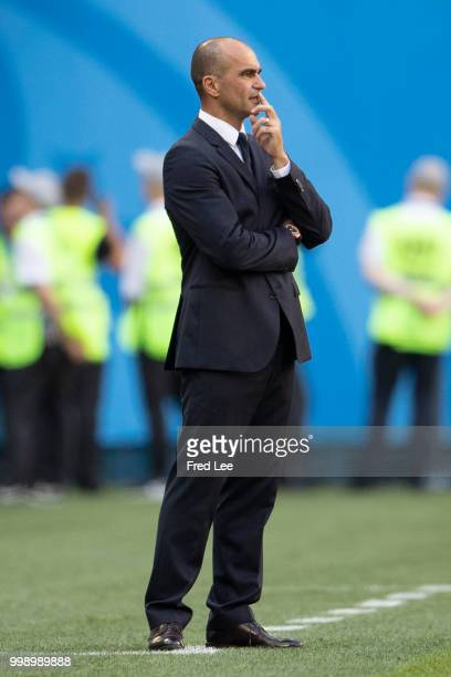 Roberto Martinez manager of the Belgium national football team puts up his thumb during the FIFA 2018 World Cup Russia Playoff for third place match...