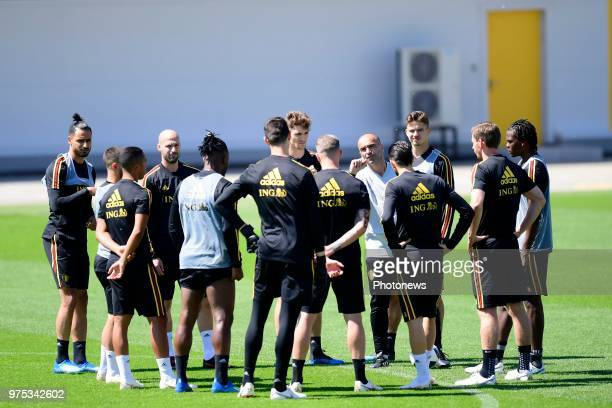 Roberto Martinez manager of the Belgium national football team talking to the players of Belgian National football team during a training session of...