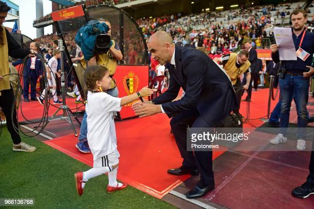 Roberto Martinez manager of the Belgium national football team with his daughter before a FIFA international friendly match between Belgium and...