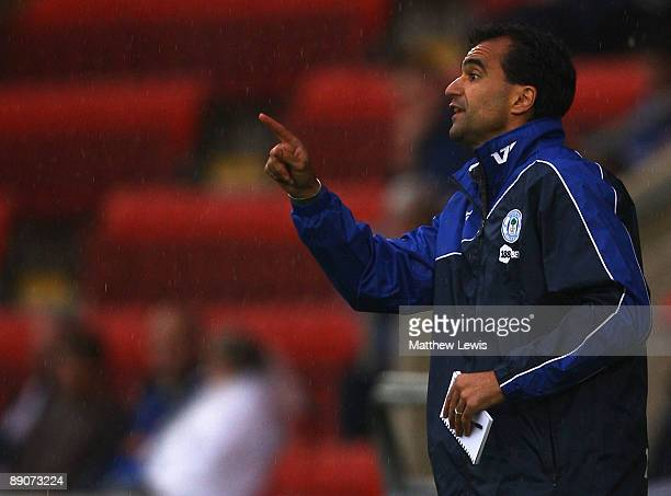 Roberto Martinez manager of Wigan Athletic gives out instructions during the Pre Season Friendly match between Crewe Alexander and Wigan Athletic at...