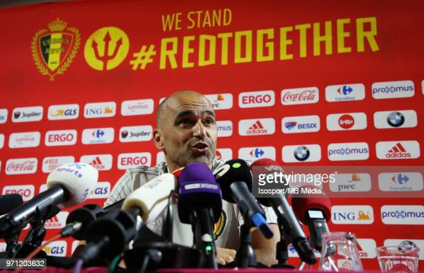 """Roberto MARTINEZ talks to the press before a training session of the Belgian national soccer team """" Red Devils """" at the Belgian National Football..."""