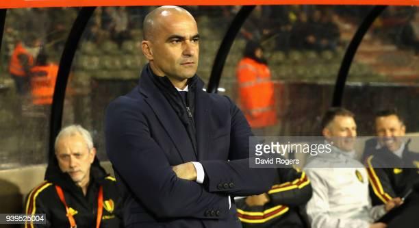 Roberto Martinez the Belgium manager looks on during the international friendly match between Belgium and Saudi Arabia at the King Baudouin Stadium...