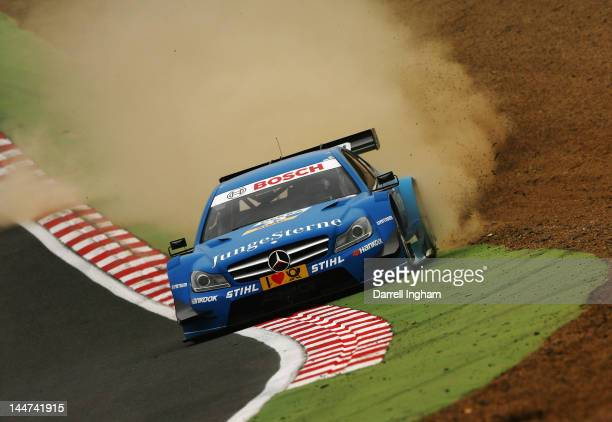 Roberto Mehri of Spain drives the Junge Stern Mercedes AMG C Coupe during practice for the DTM German Touring Car Championship race at the Brands...