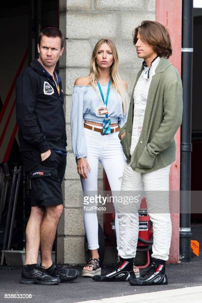 Roberto Mehri with his girlfriend Lucia Peralta during the Formula One Belgian Grand Prix at Circuit de SpaFrancorchamps on August 24 2017 in Spa...