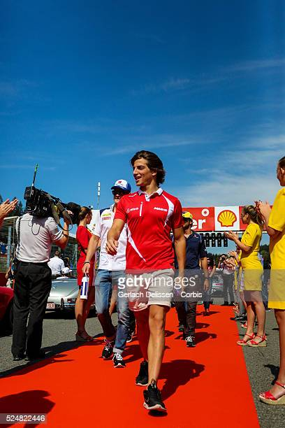 Roberto Merhi driving for the Manor Marussia F1 Team at the drivers parade during the 2015 Formula 1 Shell Belgian Grand Prix at Circuit de...