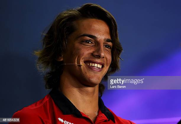 Roberto Merhi of Spain and Manor Marussia looks on at a press conference during previews to the Formula One Grand Prix of Hungary at Hungaroring on...