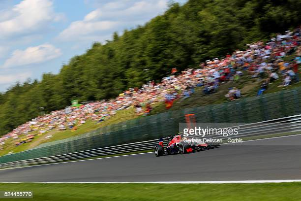 Roberto Merhi of the Manor Marussia F1 Team during the 2015 Formula 1 Shell Belgian Grand Prix free practice 2 at Circuit de Spa-Francorchamps in...