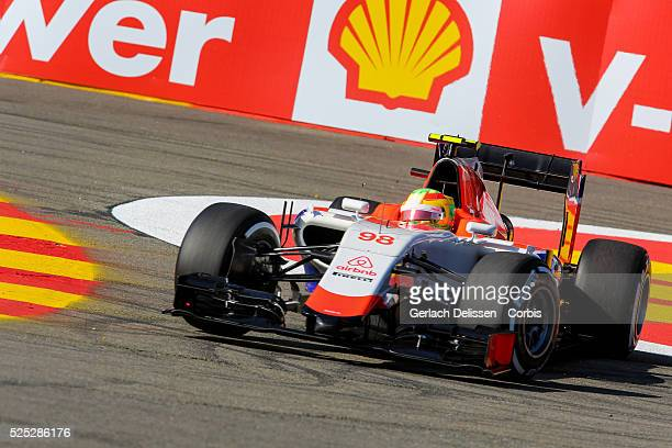 Roberto Merhi of the Manor Marussia F1 Team during the 2015 Formula 1 Shell Belgian Grand Prix free practise 1 at Circuit de Spa-Francorchamps in...