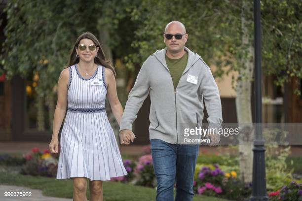 Roberto Mignone founder of Bridger Management LLC and Allison Mignone arrive for a morning session of the Allen Co Media and Technology Conference in...
