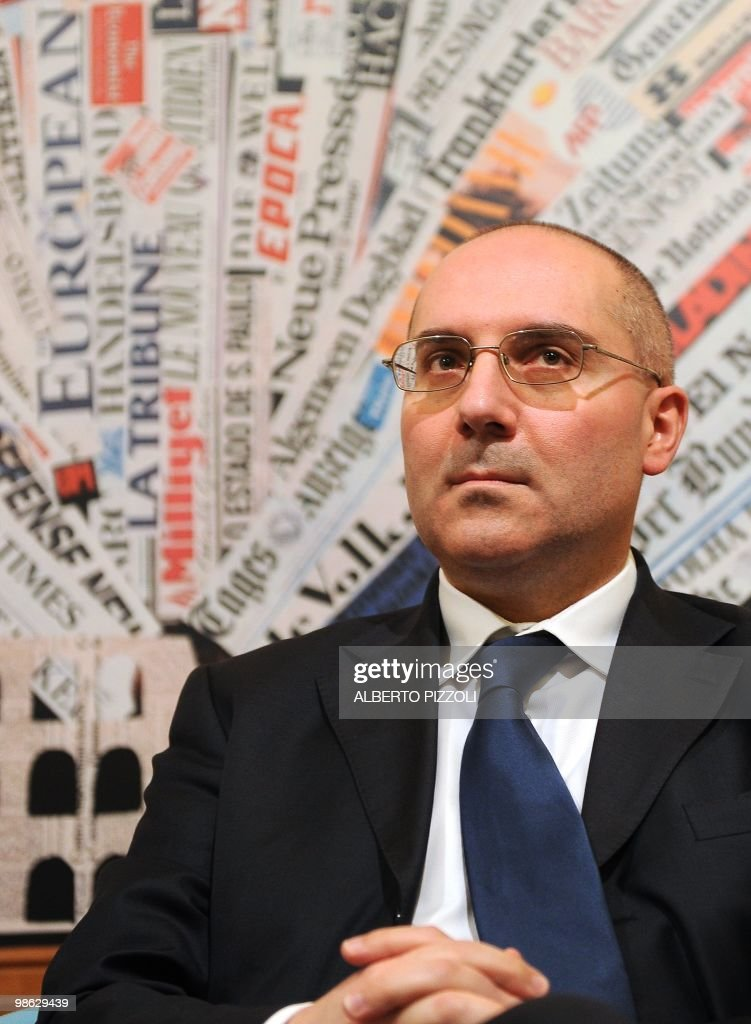 Roberto Mirabile president of anti-pedophilia association 'la caramella buona' listens to questions during a meeting at the Foreign Press Association on April 23, 2010. in Rome.