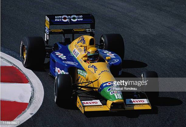Roberto Moreno drives the Camel Benetton Ford Benetton B191 Ford HB 35 V8 during practice for the RhonePoulenc French Grand Prix on 6th July 1991 at...