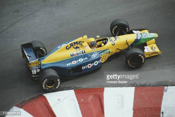 Roberto Moreno of Brazil drives the Camel Benetton Ford B191 Ford HB V8 during the Grand Prix of Monaco on 12 May 1991 on the streets of the...
