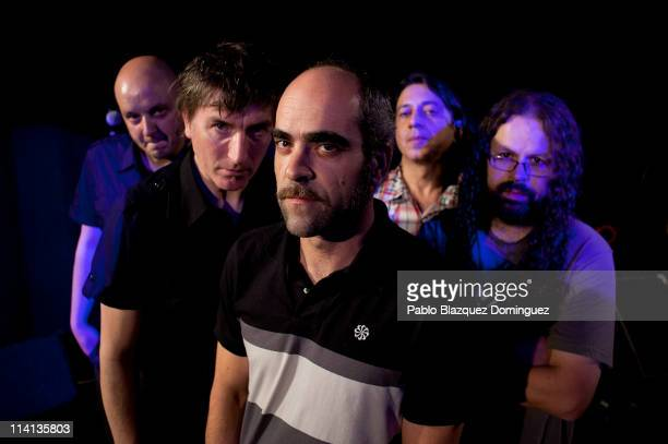 Roberto Munoz Piti Sanz Luis Tosar Suso Alono and Ivan Laxe of 'Di Elas' pose for a portrait at Sala Caracol on May 12 2011 in Madrid Spain