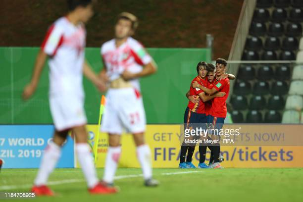 Roberto Navarro of Spain center celebrates with Alejandro Frances and Pablo Moreno after scoring a goal during the FIFA U17 World Cup Brazil 2019...