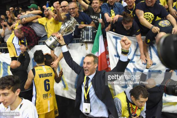 Roberto Nicolai general manager of Fiat stands with the cup during the LBA Legabasket match semifinal of Coppa Italia between Auxilium Fiat Torino...