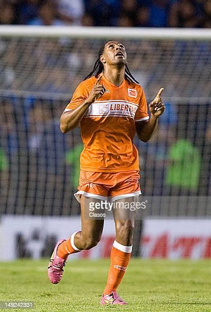 Roberto Nurse of Correcaminos celebrates a goal during a match between Queretaro and Correcaminos as part of the Torneo Copa MX at Corregidora...