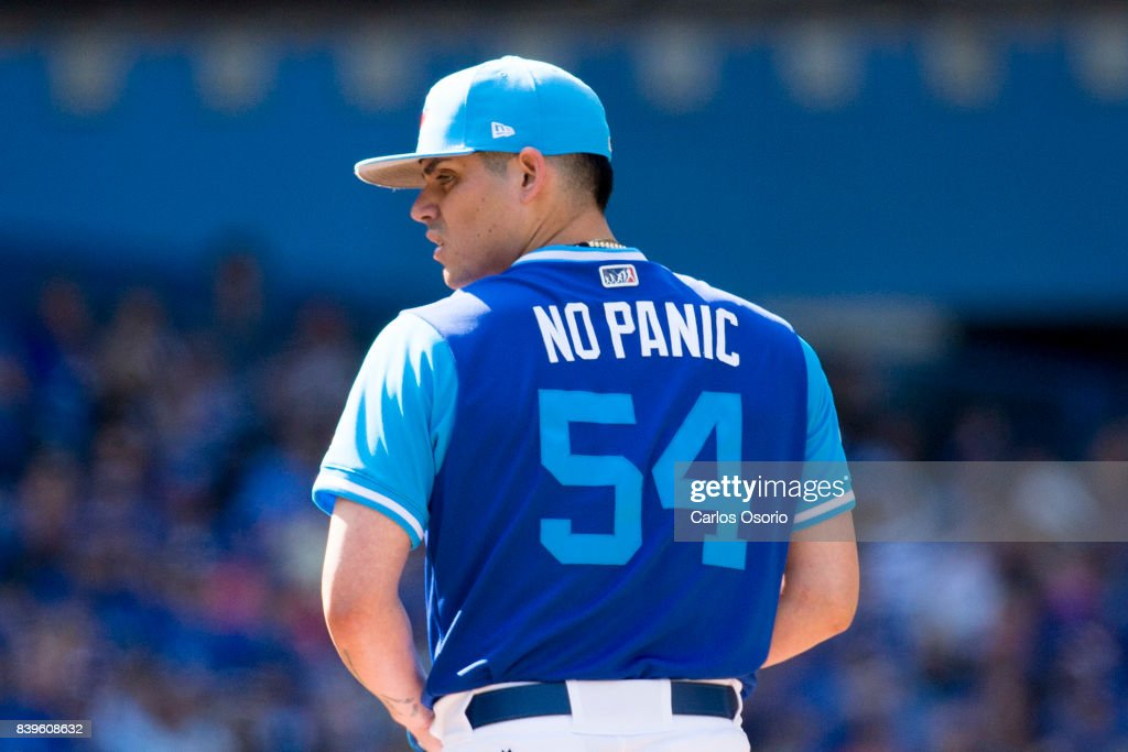 TORONTO, ON - AUGUST 26 - Roberto Osuna of the Blue Jays wears a nickname jersey during the 9th inning of MLB action as the Toronto Blue Jays defeat the Minnesota Twins 10-9 at Rogers Centre on August 26, 2017.