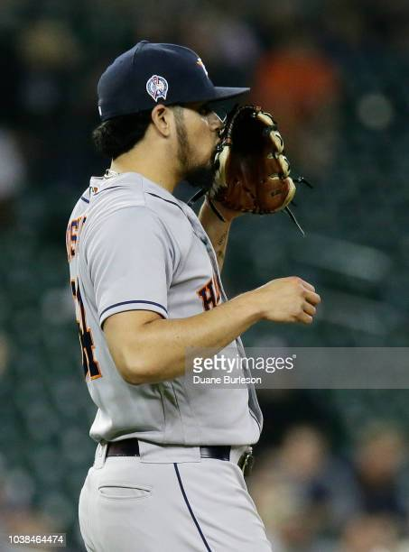 Roberto Osuna of the Houston Astros celebrates after a win over the Detroit Tigers at Comerica Park on September 11 2018 in Detroit Michigan