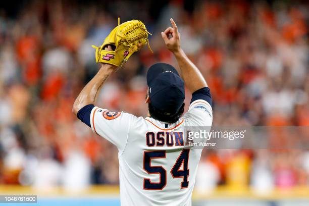 Roberto Osuna of the Houston Astros celebrates after defeating the Cleveland Indians 31 in Game Two of the American League Division Series at Minute...
