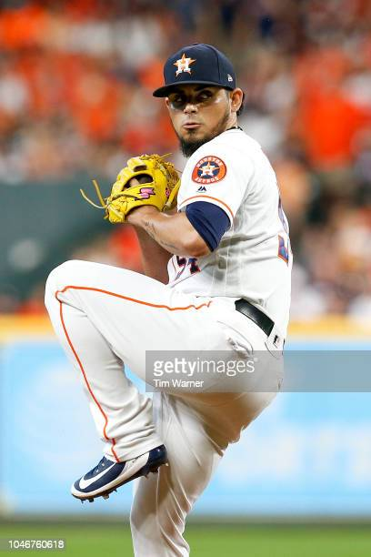 Roberto Osuna of the Houston Astros delivers a pitch in the eighth inning against the Cleveland Indians during Game Two of the American League...