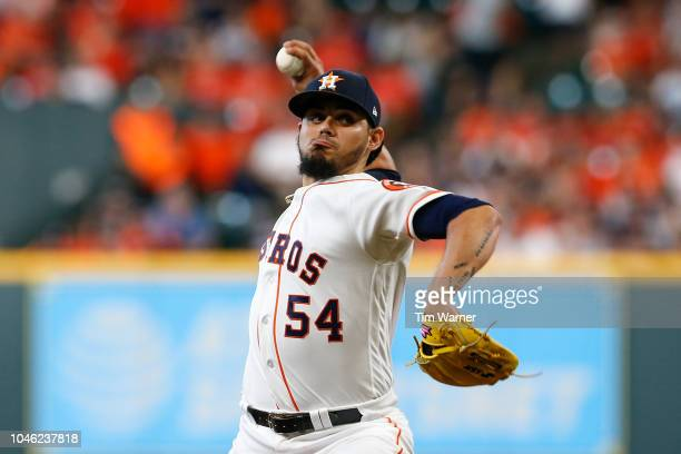 Roberto Osuna of the Houston Astros delivers a pitch in the ninth inning against the Cleveland Indians during Game One of the American League...