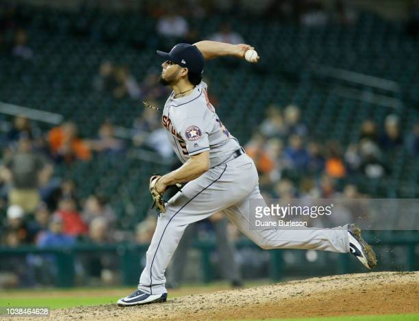 Roberto Osuna of the Houston Astros pitches against the Detroit Tigers at Comerica Park on September 11 2018 in Detroit Michigan