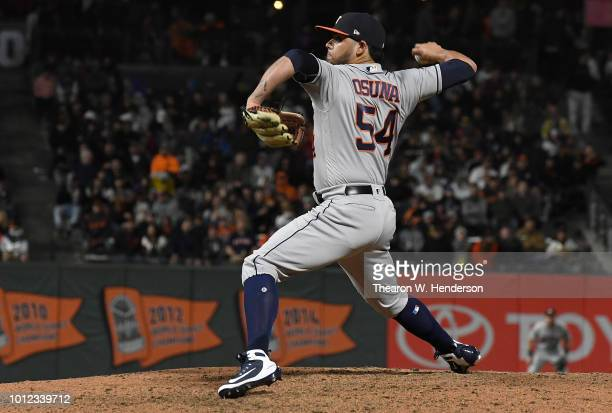 Roberto Osuna of the Houston Astros pitches against the San Francisco Giants in the bottom of the eighth inning at ATT Park on August 6 2018 in San...