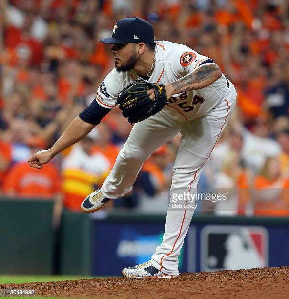Roberto Osuna of the Houston Astros pitches in the ninth inning aTampa Bay Rays during Game 5 of the ALDS at Minute Maid Park on October 10 2019 in...