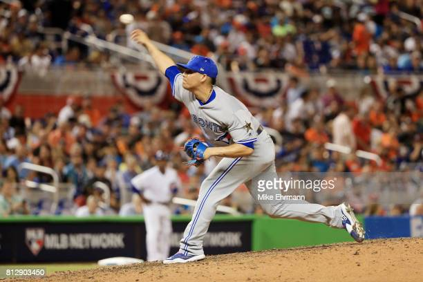 Roberto Osuna of the Toronto Blue Jays and the American League pitches in the seventh inning against the National League during the 88th MLB AllStar...