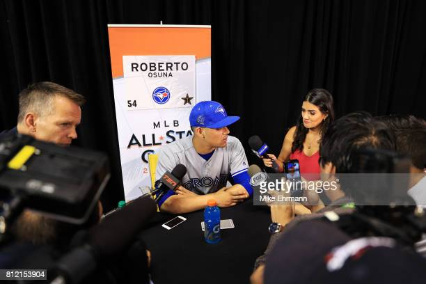 Roberto Osuna of the Toronto Blue Jays and the American League speaks with the media during Gatorade AllStar Workout Day ahead of the 88th MLB...