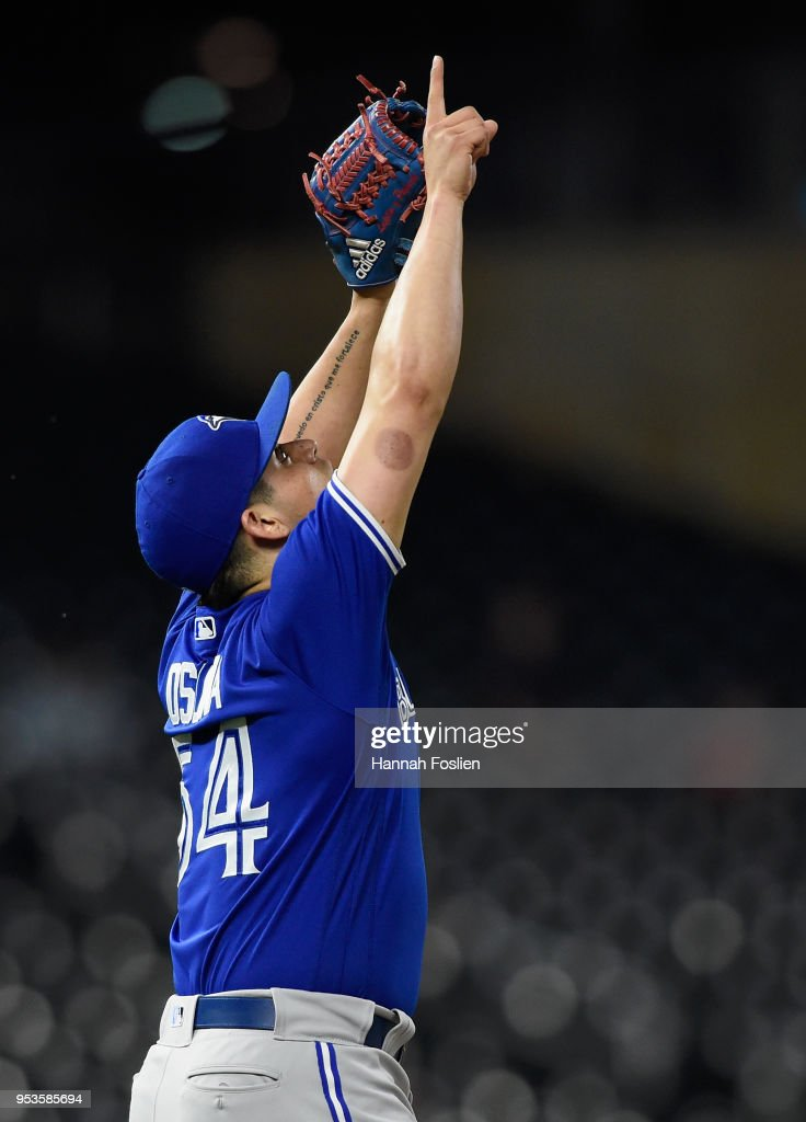 Roberto Osuna #54 of the Toronto Blue Jays celebrates a win against the Minnesota Twins in 10 innings on May 1, 2018 at Target Field in Minneapolis, Minnesota. The Blue Jays defeated the Twins 7-4.
