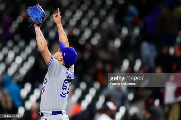 Roberto Osuna of the Toronto Blue Jays celebrates after the Blue Jays defeated the Baltimore Orioles 21 at Oriole Park at Camden Yards on April 10...