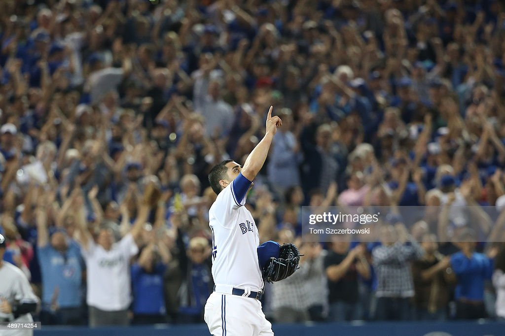 Roberto Osuna #54 of the Toronto Blue Jays celebrates their victory during MLB game action against the New York Yankees on September 23, 2015 at Rogers Centre in Toronto, Ontario, Canada.