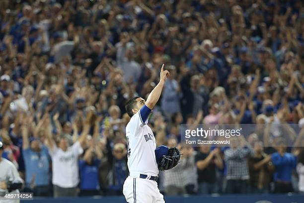 Roberto Osuna of the Toronto Blue Jays celebrates their victory during MLB game action against the New York Yankees on September 23 2015 at Rogers...
