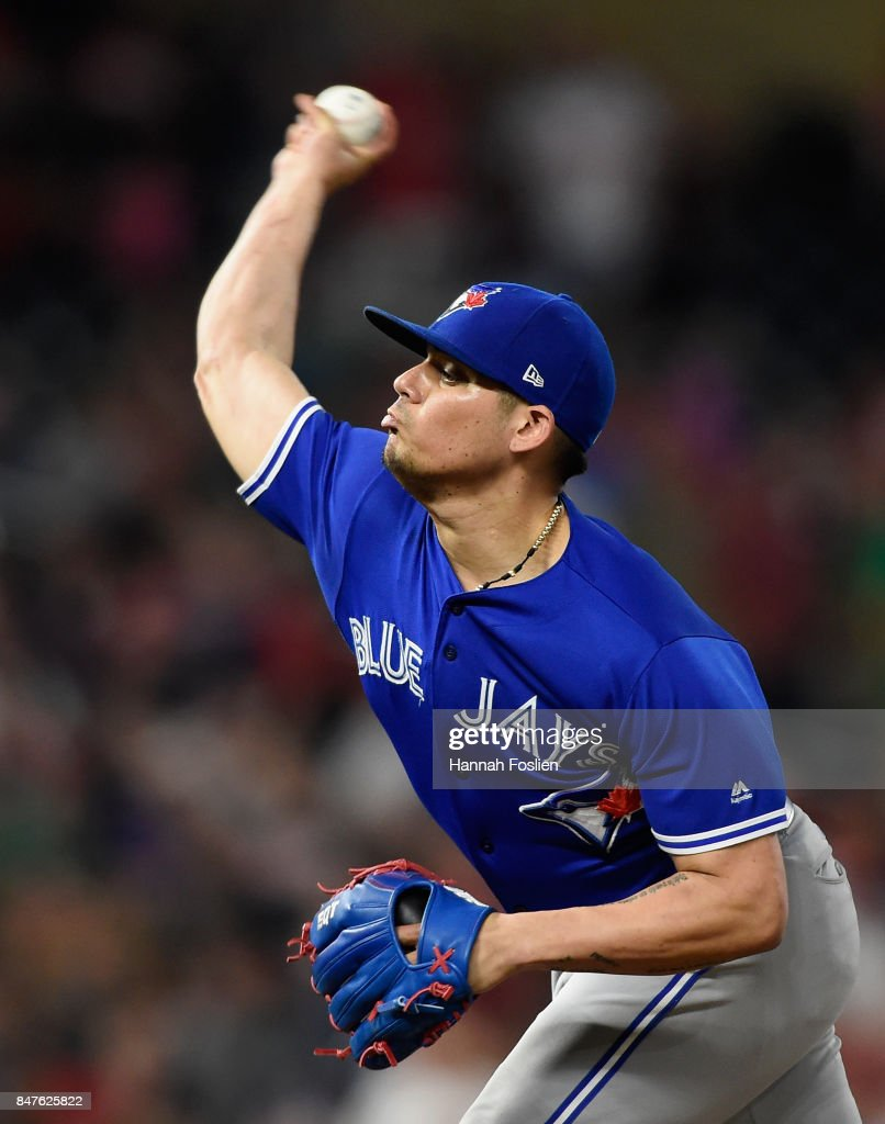 Roberto Osuna #54 of the Toronto Blue Jays delivers a pitch against the Minnesota Twins during the ninth inning of the game on September 15, 2017 at Target Field in Minneapolis, Minnesota. The Blue Jays defeated the Twins 4-3.