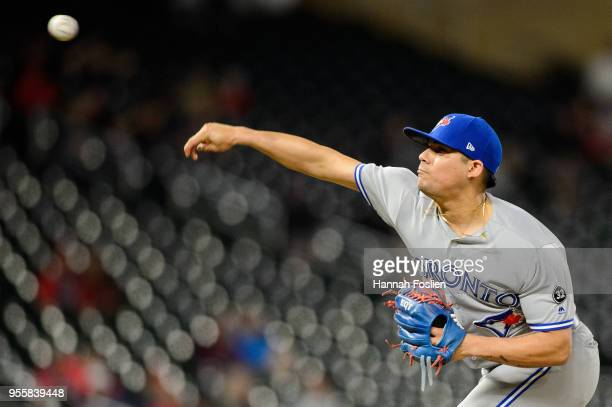 Roberto Osuna of the Toronto Blue Jays delivers a pitch against the Minnesota Twins during the game on April 30 2018 at Target Field in Minneapolis...