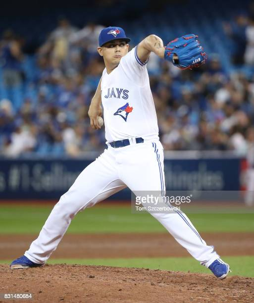 Roberto Osuna of the Toronto Blue Jays delivers a pitch in the ninth inning during MLB game action against the Tampa Bay Rays at Rogers Centre on...