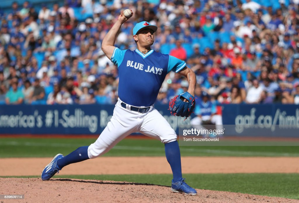 Roberto Osuna #54 of the Toronto Blue Jays delivers a pitch in the ninth inning during MLB game action against the Minnesota Twins at Rogers Centre on August 26, 2017 in Toronto, Canada.