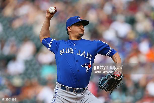 Roberto Osuna of the Toronto Blue Jays delivers to home plate during the ninth inning against the Colorado Rockies at Coors Field on June 29 2016 in...