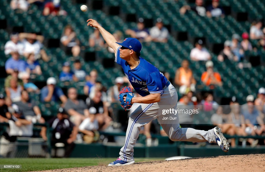 Roberto Osuna #54 of the Toronto Blue Jays pitches against the Chicago White Sox during the ninth inning at Guaranteed Rate Field on August 2, 2017 in Chicago, Illinois. The Toronto Blue Jays won 5-1.