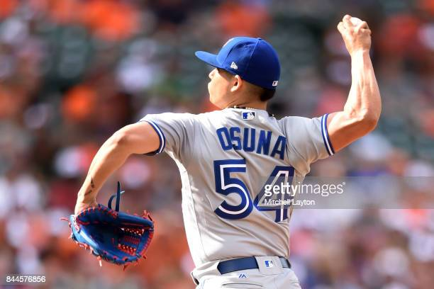 Roberto Osuna of the Toronto Blue Jays pitches during a baseball game against the Baltimore Orioles at Oriole Park at Camden Yards on September 3...