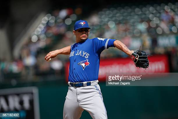 Roberto Osuna of the Toronto Blue Jays pitches during the game against the Oakland Athletics at the Oakland Coliseum on July 17 2016 in Oakland...