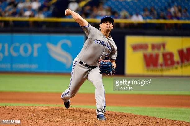 Roberto Osuna of the Toronto Blue Jays pitches during the ninth inning against the Tampa Bay Rays on May 6 2018 at Tropicana Field in St Petersburg...