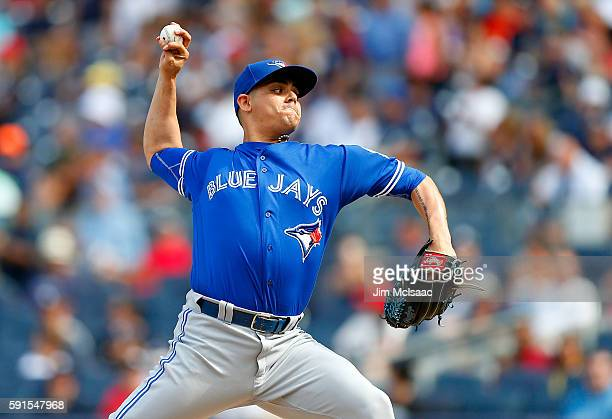 Roberto Osuna of the Toronto Blue Jays pitches in the ninth inning against the New York Yankees at Yankee Stadium on August 17 2016 in the Bronx...