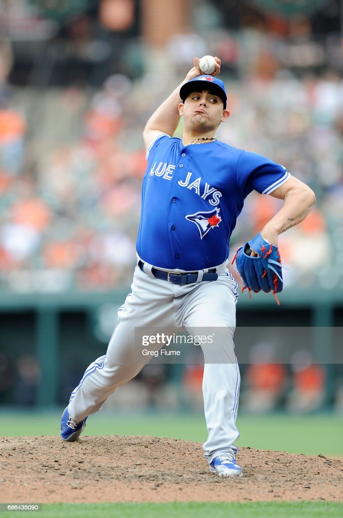 Roberto Osuna #54 of the Toronto Blue Jays pitches in the ninth inning against the Baltimore Orioles at Oriole Park at Camden Yards on May 21, 2017 in Baltimore, Maryland. Toronto won the game 3-1.