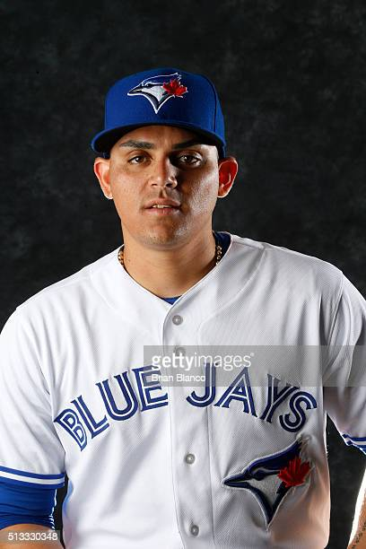 Roberto Osuna of the Toronto Blue Jays poses for a photo during the Blue Jays' photo day on February 27 2016 in Dunedin Florida