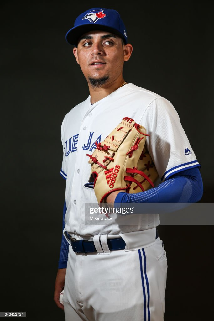 Roberto Osuna #54 of the Toronto Blue Jays poses for a portait during a MLB photo day at Florida Auto Exchange Stadium on February 21, 2017 in Sarasota, Florida.