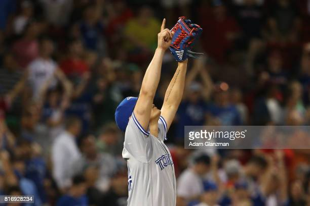 Roberto Osuna of the Toronto Blue Jays reacts after a victory over the Boston Red Sox at Fenway Park on July 17 2017 in Boston Massachusetts